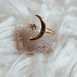"Talking to the moon, , Bohindie Stream, , ""At night when the stars light up my room, I sit by myself talking to the moon."" ▶▶DETAILS◀◀ ▪16k gold plated adjustable ring ▪Cubic Zirconia"