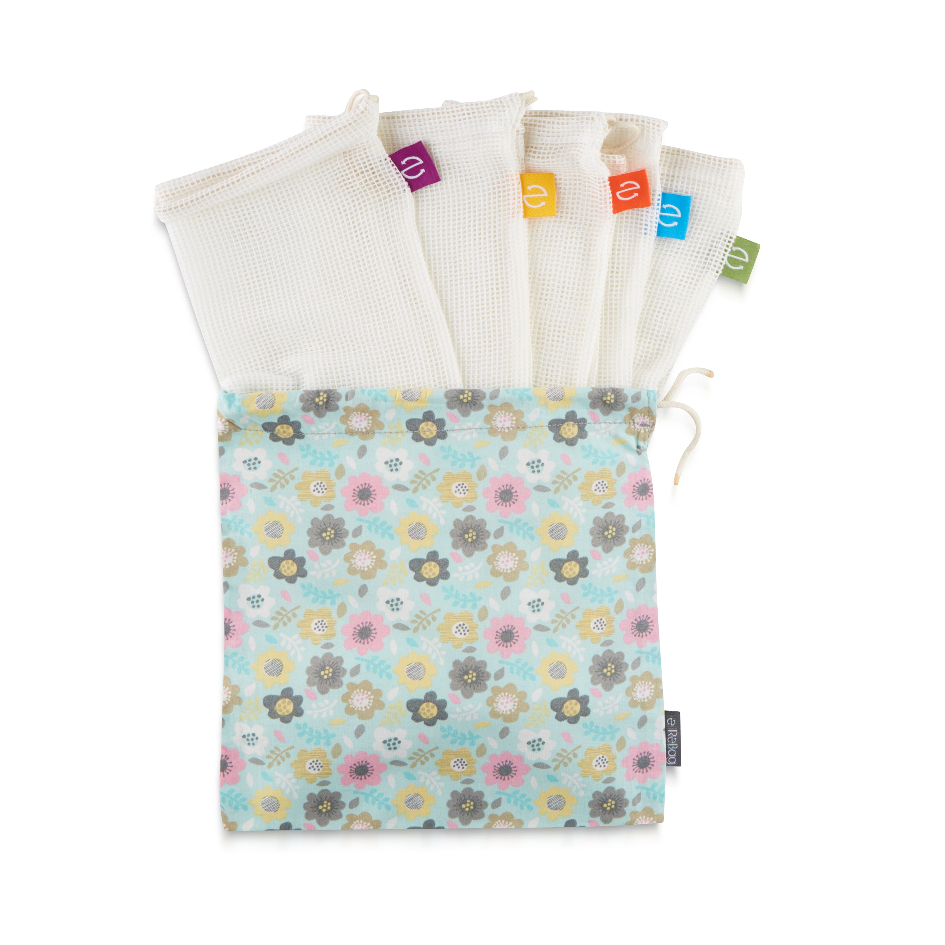 5x Produce Bags + Blue Floral Carry Bag