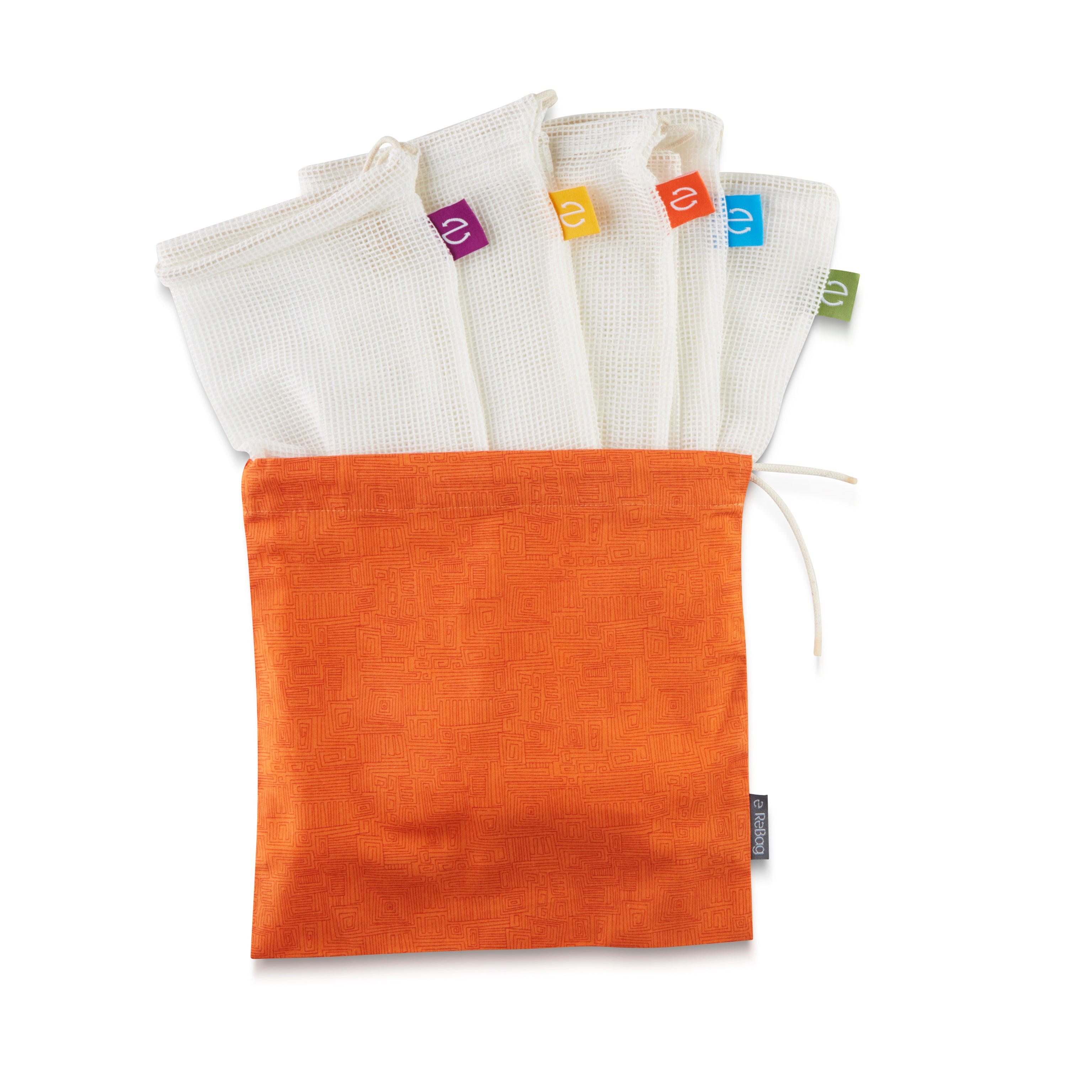 5x Produce Bags + Orange Essential Carry Bag