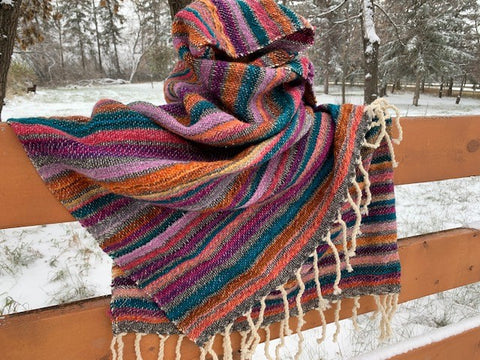 Striped Wool Shawl/Wrap