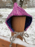 Hot Pink Pixie Hat- Grey Wool Ties and Blue Flannelette (0-3 Months)