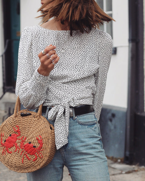 Polka Dot Wrap Crop Top