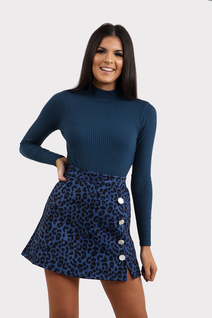 Blue Animal Print Button Detail Skirt In Leopard