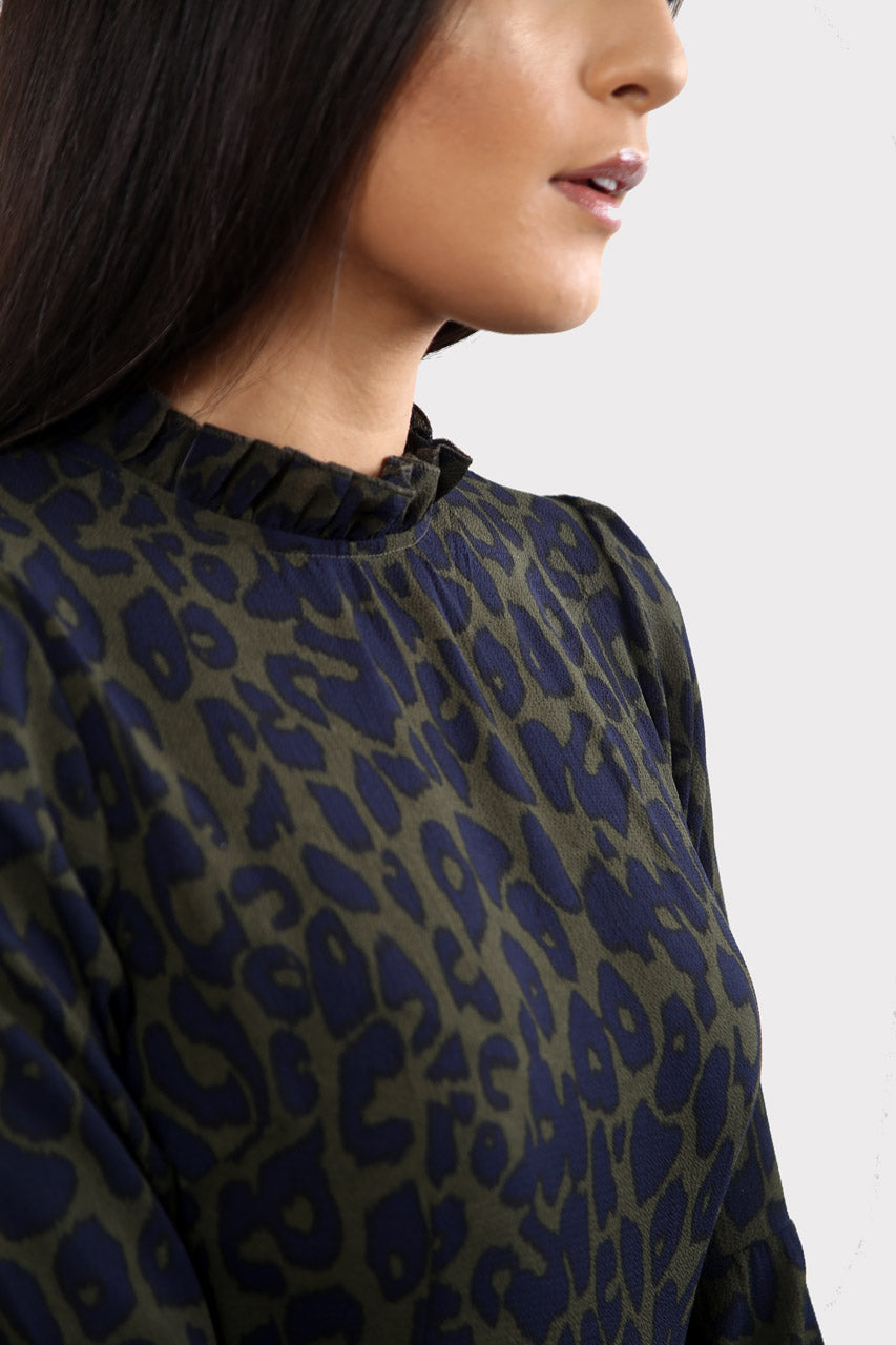 Dark Green Animal Print High Neck Dress In Leopard Print