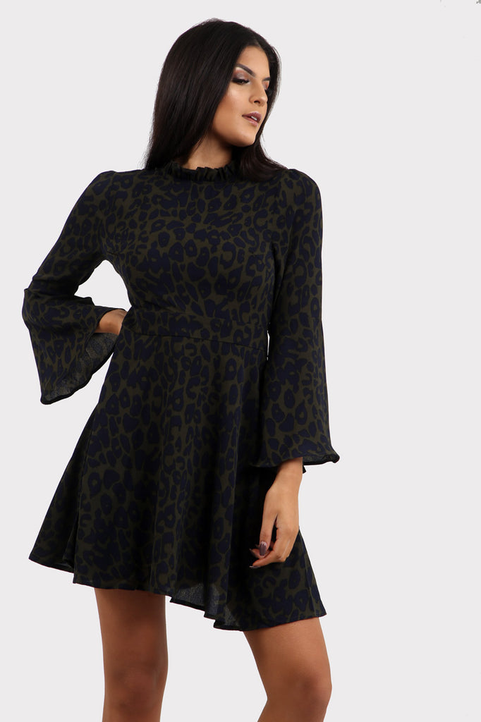 Animal Print High Neck Dress In Leopard Print