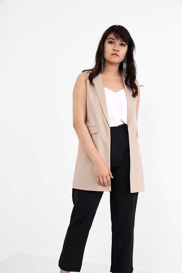 Camel Long Sleeveless Blazer
