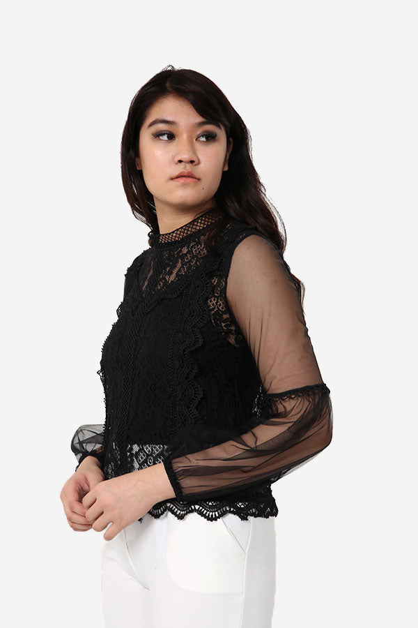 Black Lace Long Sleeve Top