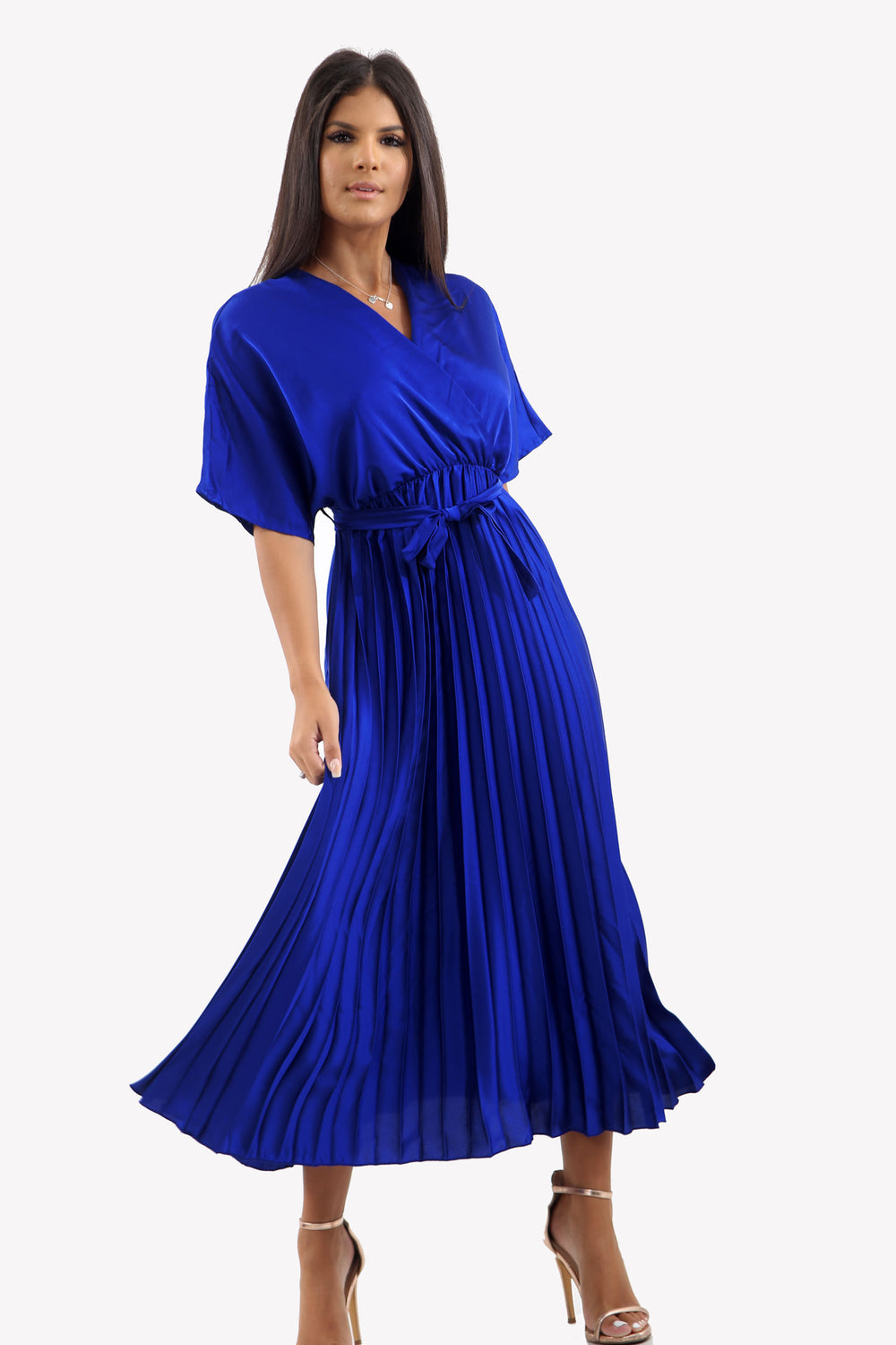 Satin Batwing Pleated Maxi Dress in Royal Blue