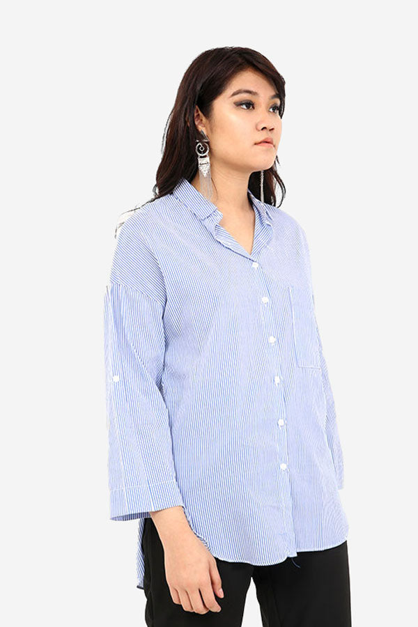 Blue And White Long Sleeve Striped Shirt