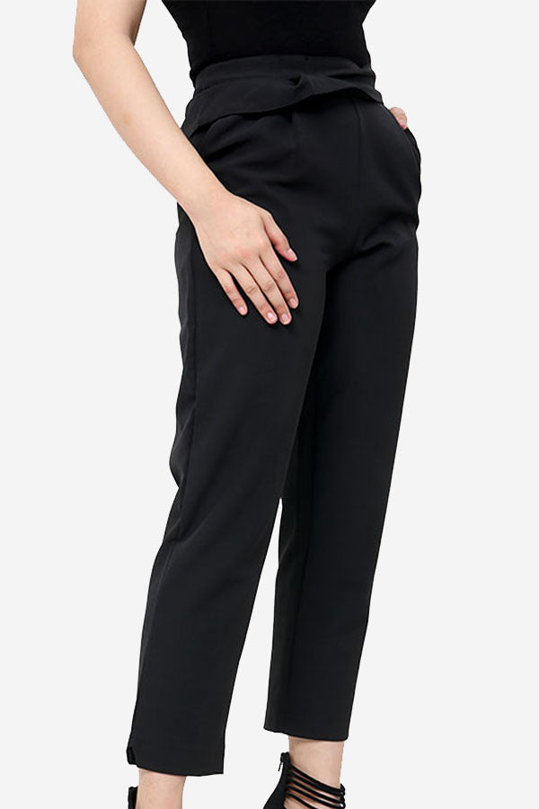Black High Waisted Straight Leg Trousers With Ruffle Detail