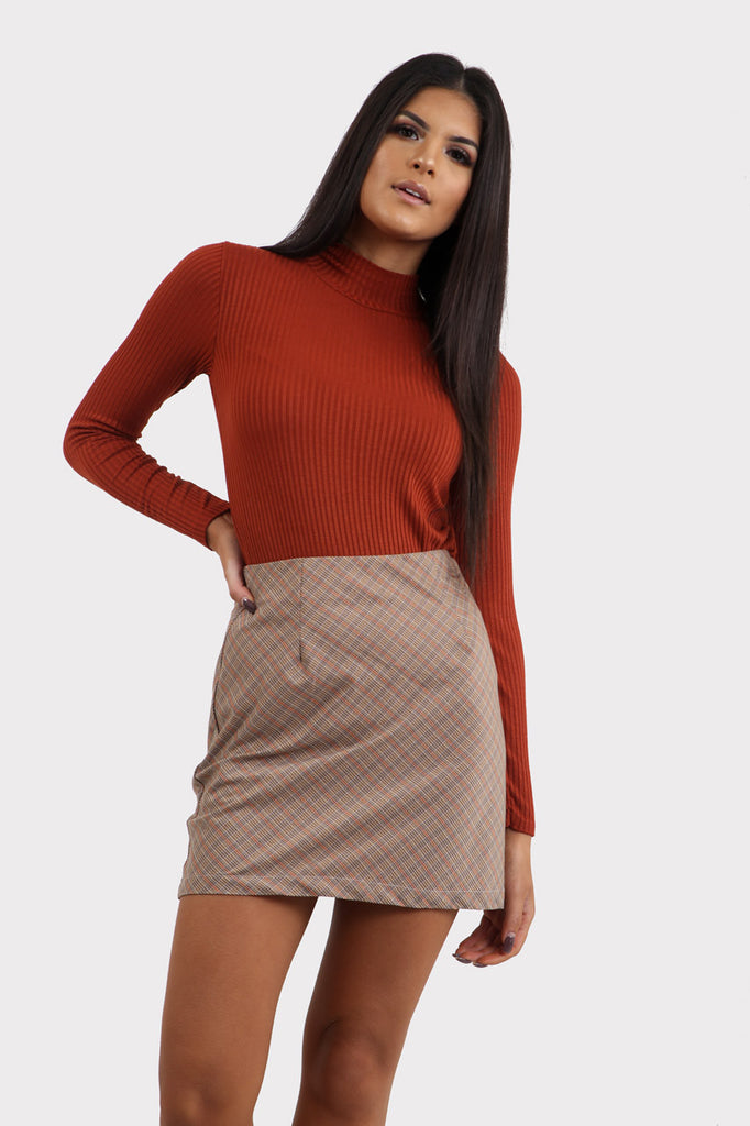 Beige Plaid Mini Skirt