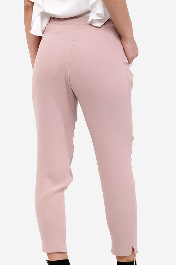 Pink Belted Relaxed Fit Trousers