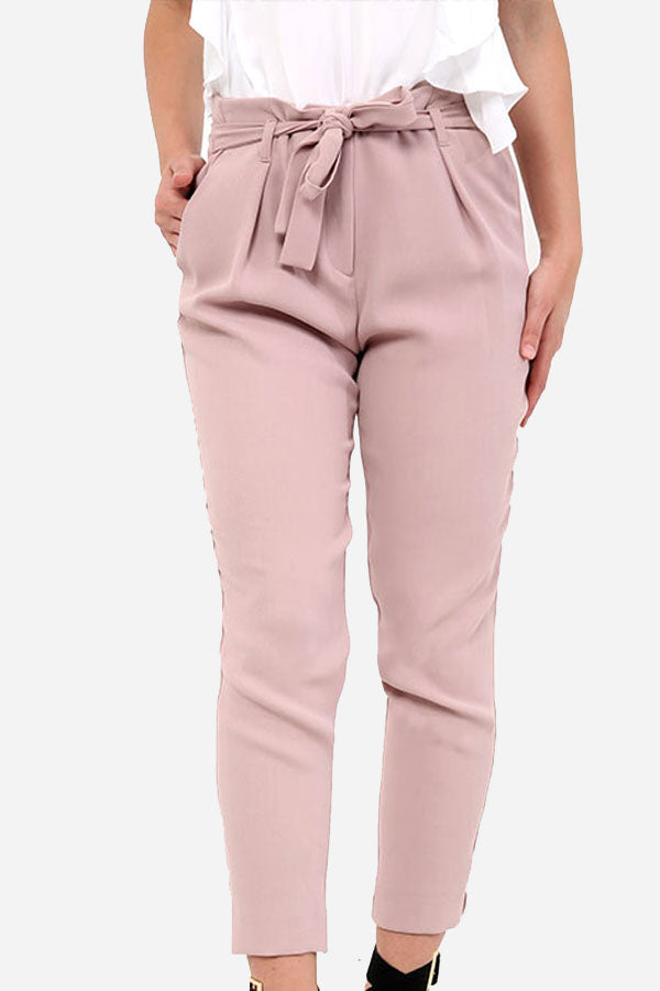 Pink High Waisted Cigarette Trousers