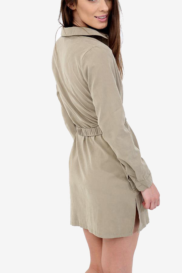 Olive Khaki Belted Shirt Dress