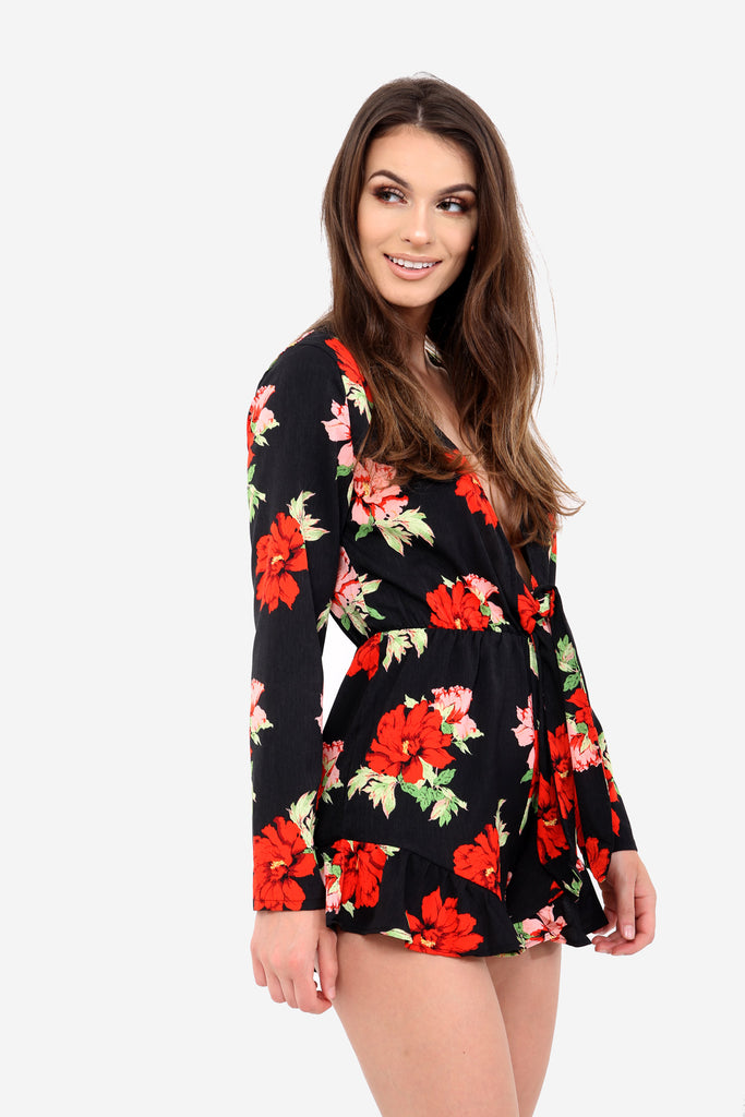 Black Floral Plunge Playsuit
