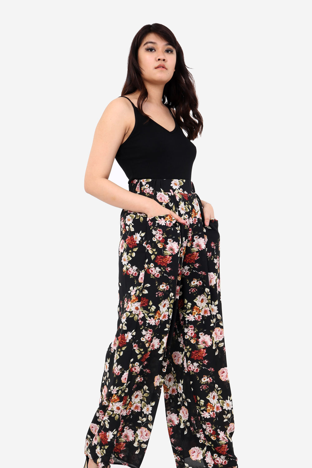 Black Floral Wide Leg High Waisted Trousers