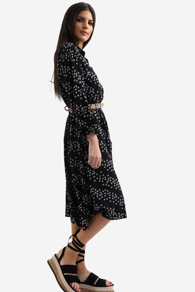 Black Printed Midi Shirt Dress