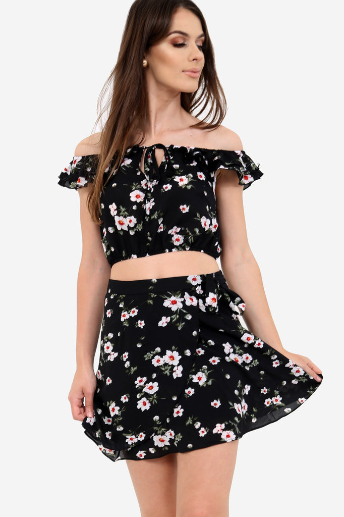 Black High Waisted Floral Skirt