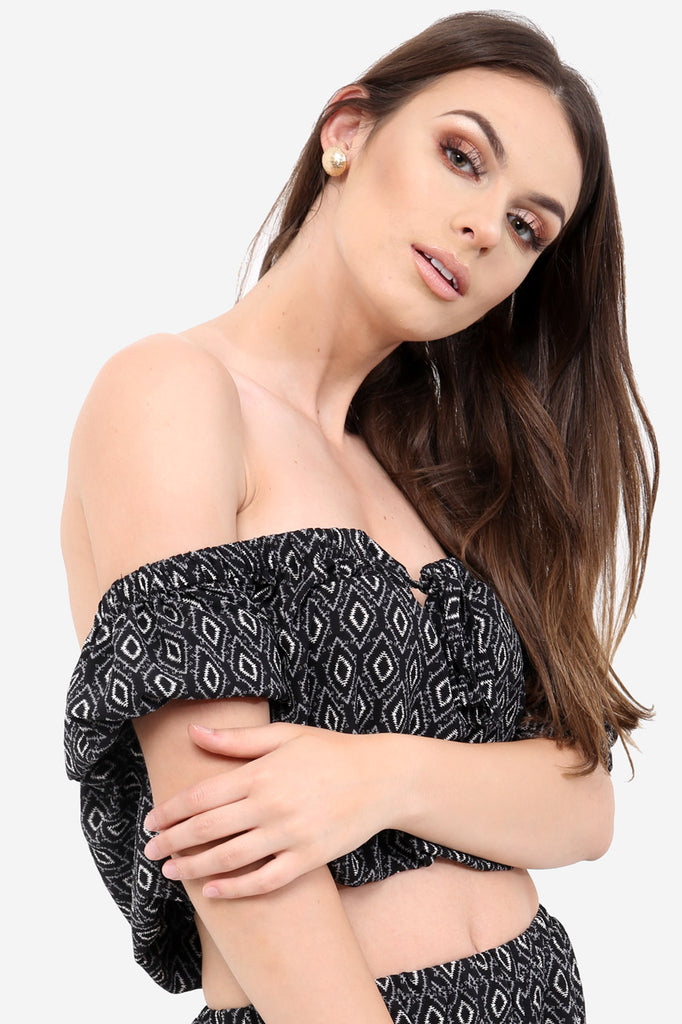 Black Off The Shoulder Crop Top In Aztec