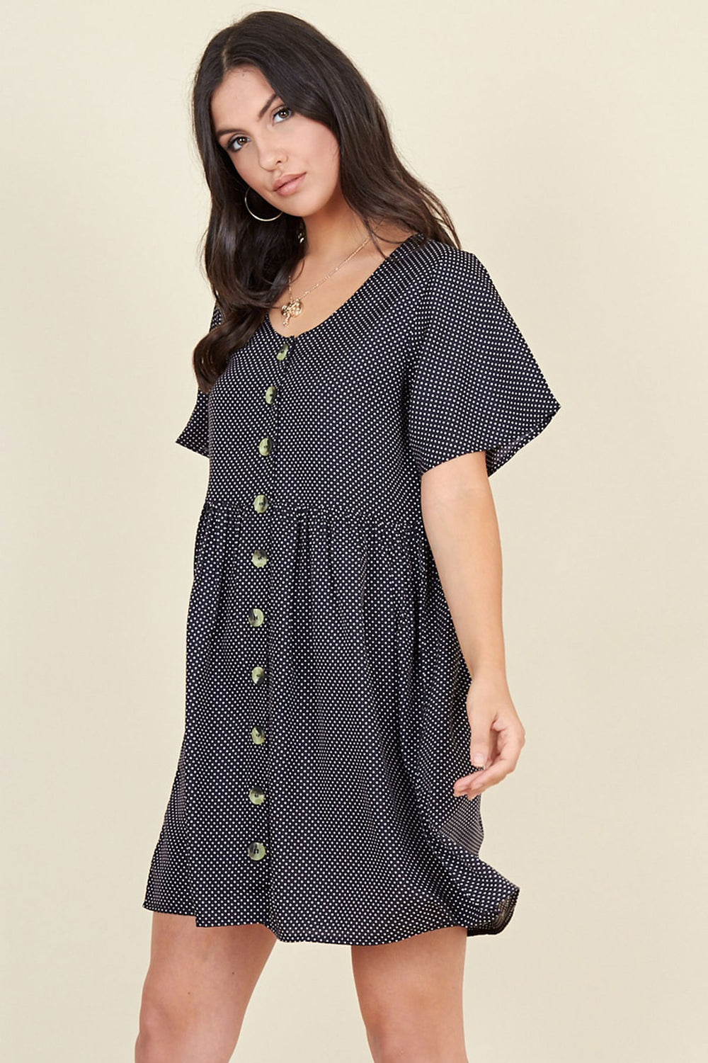 Ivykove Black Polka Dot Horn Button Front Mini Smock Dress