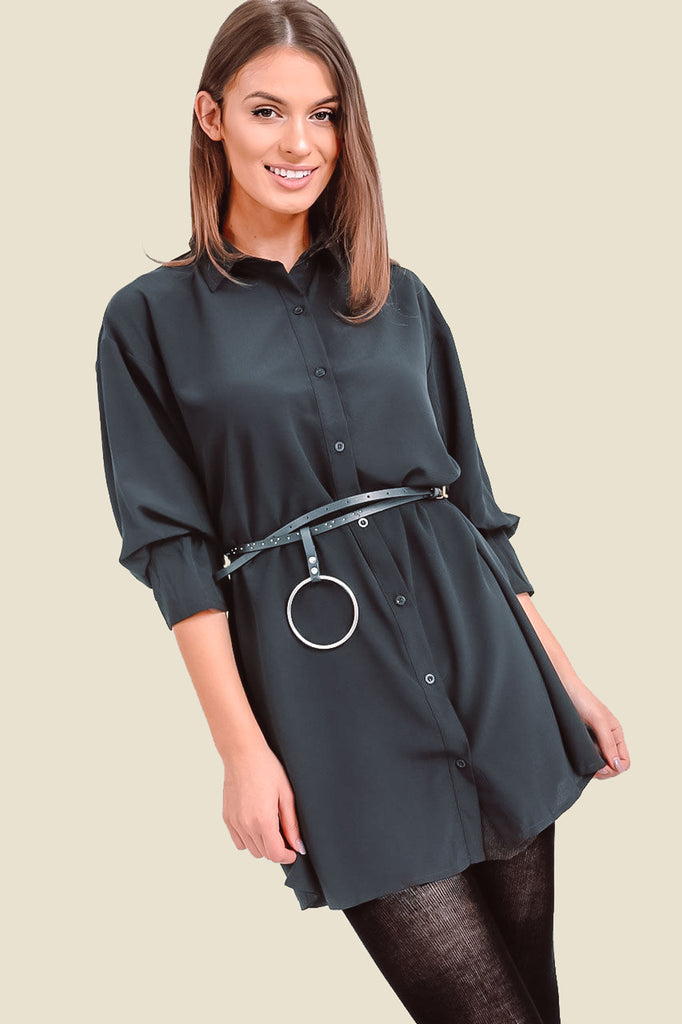Black Oversized Shirt Dress With Sleeve Detail