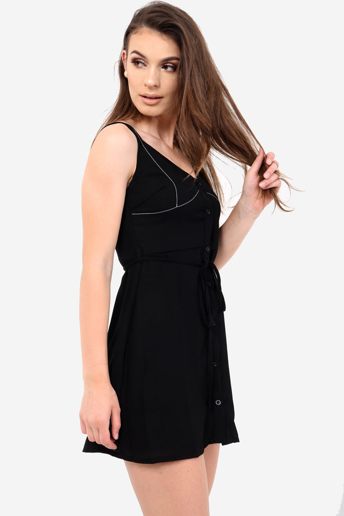Black Short Button Down Dress