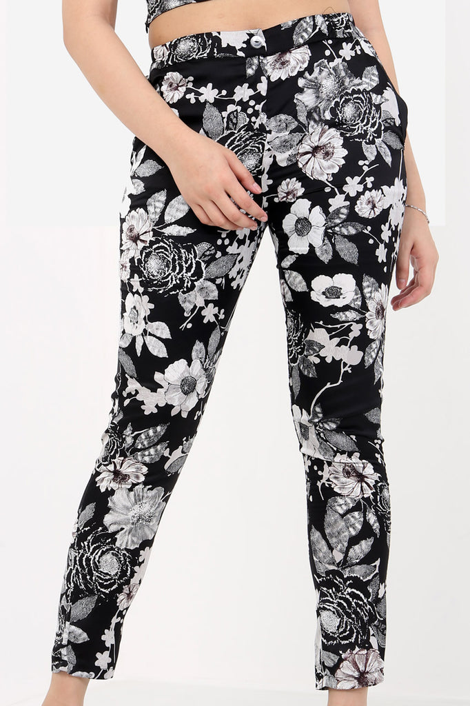 Black Silk Floral Cigarette Trousers