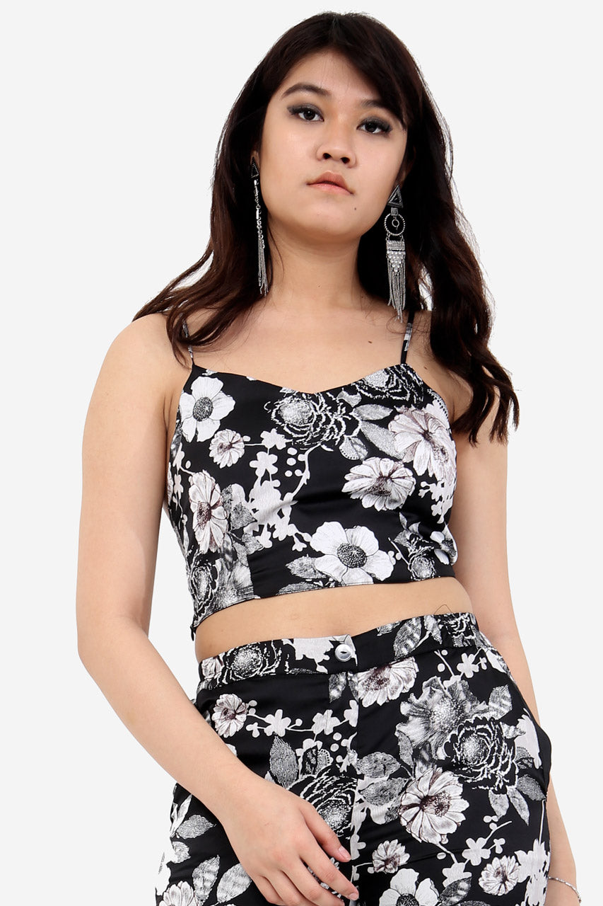 Black Silk Floral Crop Top