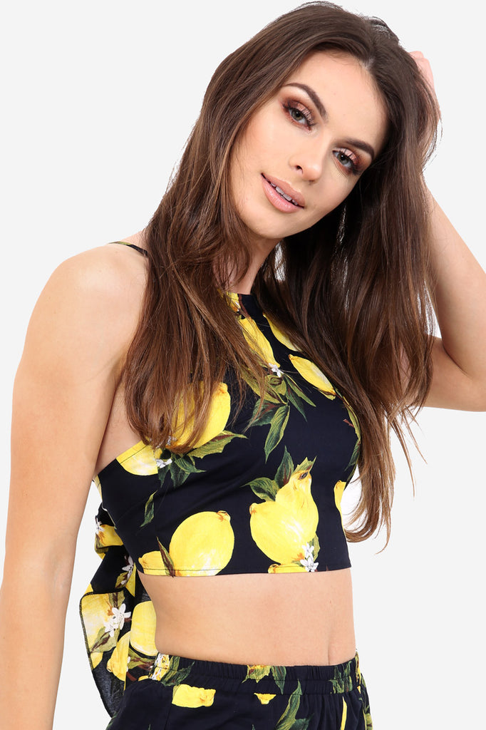 Black Tie Back Crop Top In Lemon Print