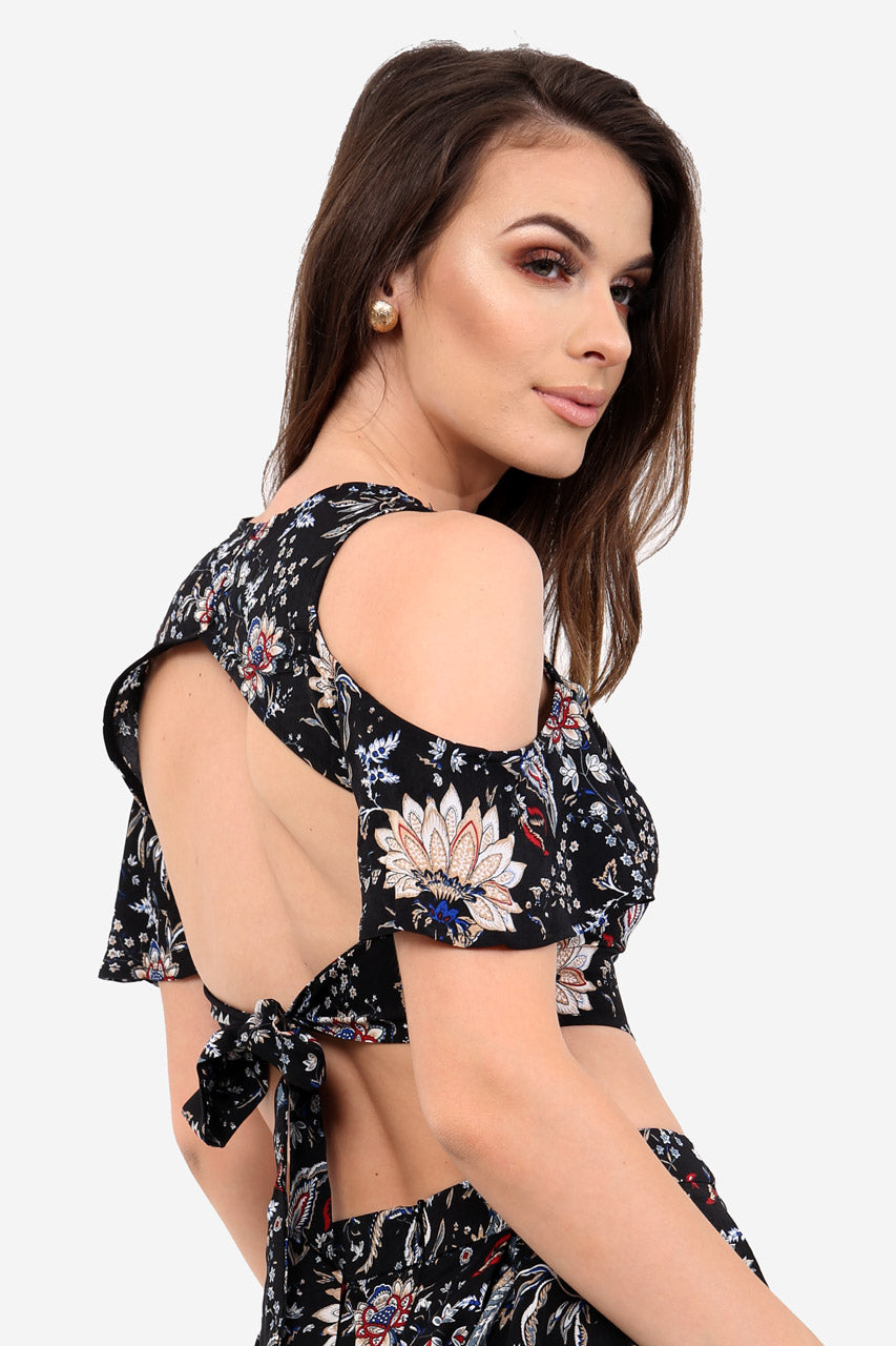 Black Tie Back Paisley Crop Top