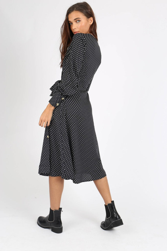 Black Polka Dot Side Tie Button Wrap Midi Dress