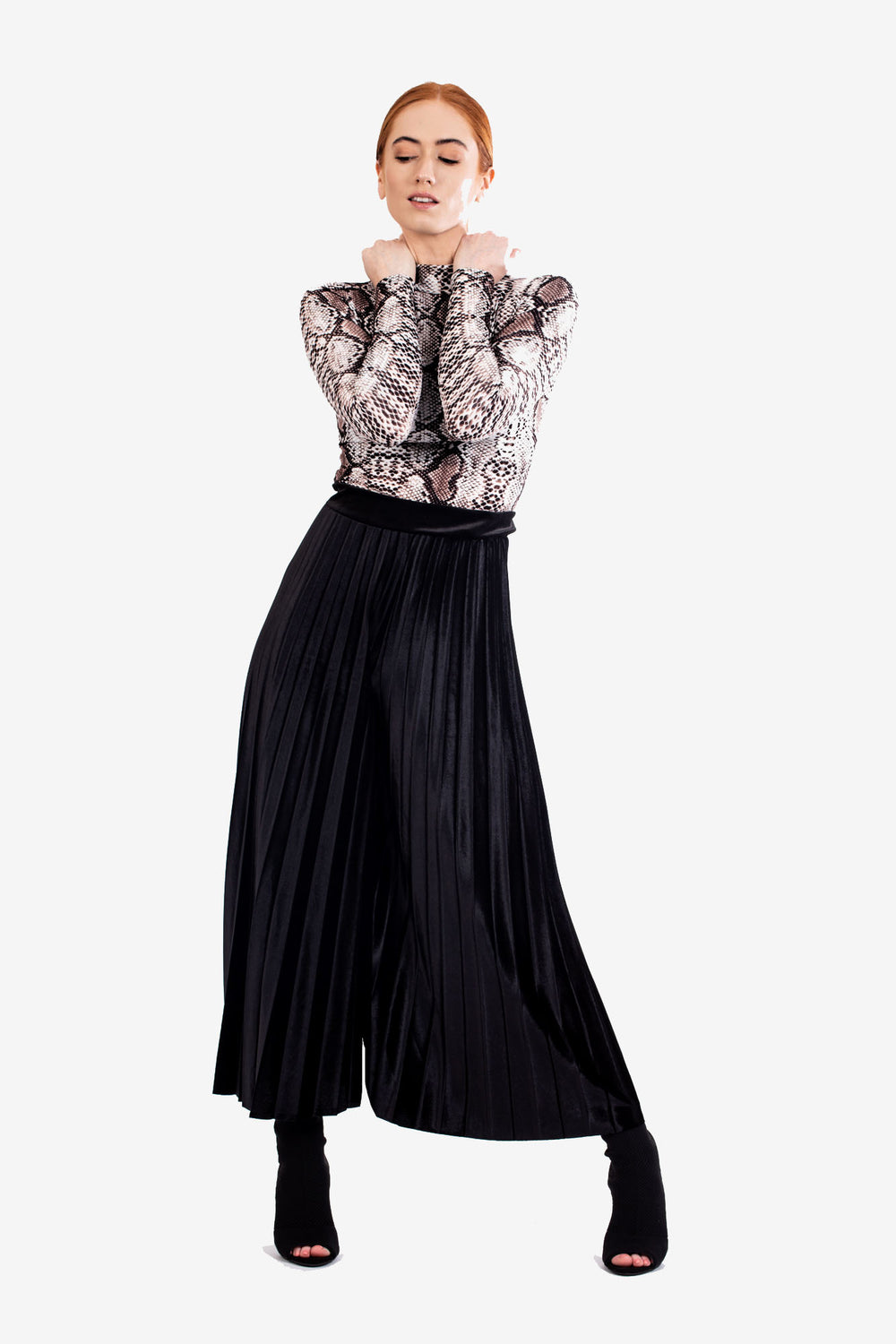 Black Pleated Velvet Culottes