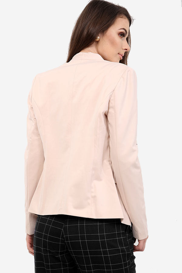 Pale Pink Blazer With Zip Detail