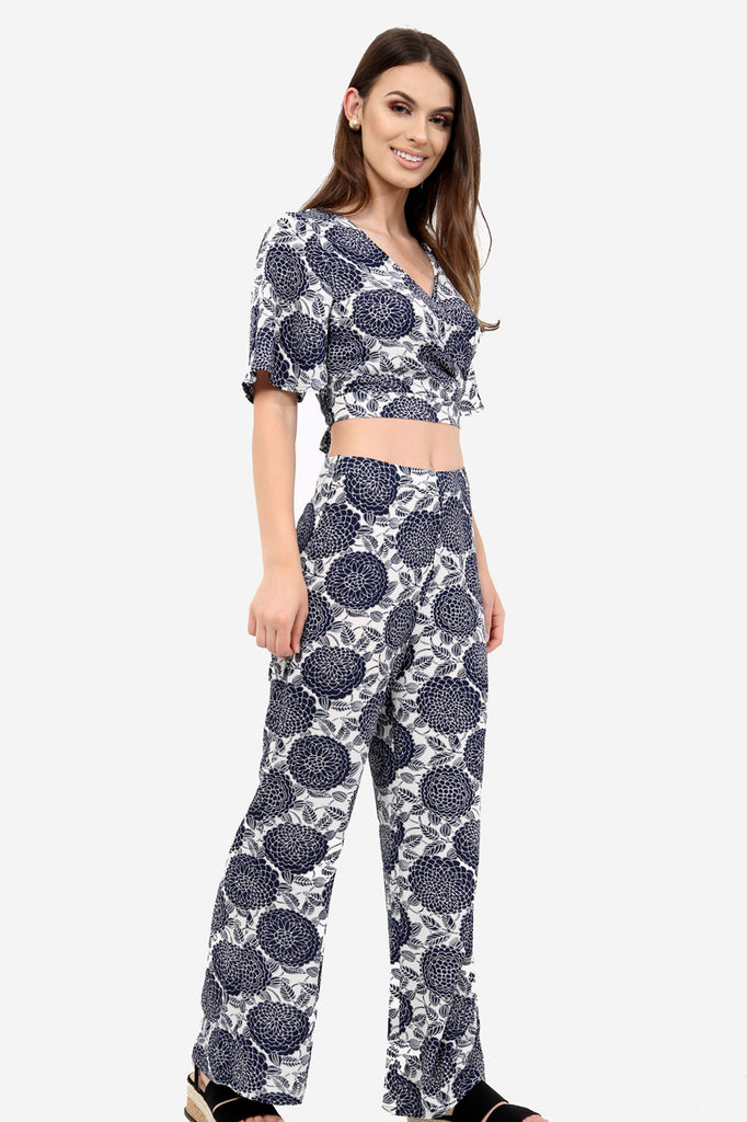 Blue Flared Floral Trousers