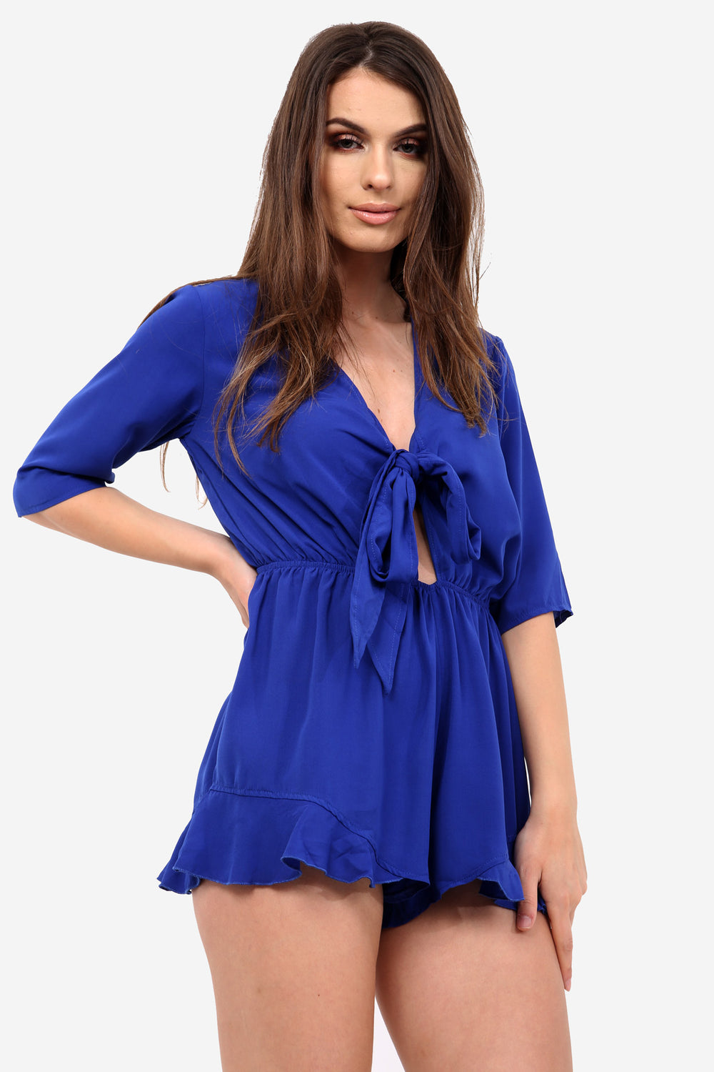 Blue Relaxed Frill Playsuit