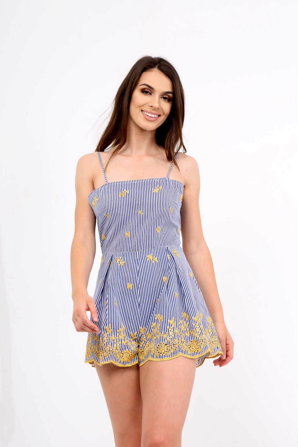 Blue Striped Playsuit With Contrasting Hem