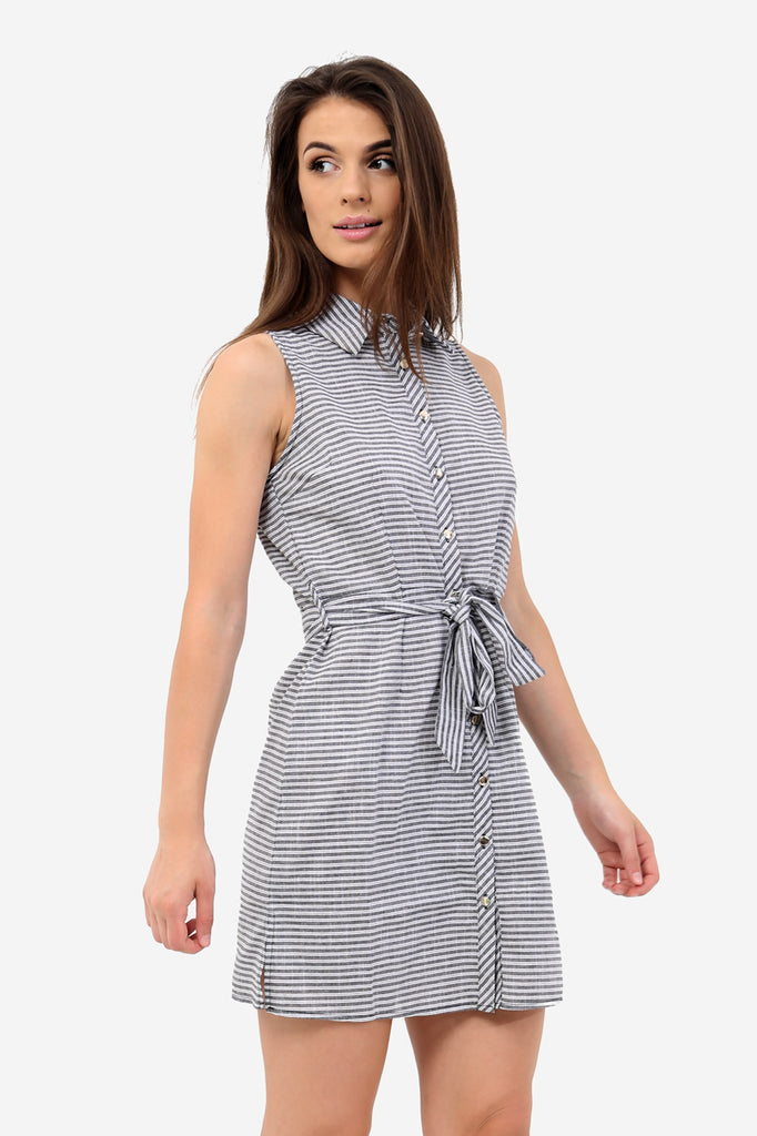 Grey Striped Sleeveless Shirt Dress
