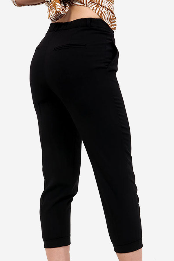 Black Button up Straight Leg Trousers
