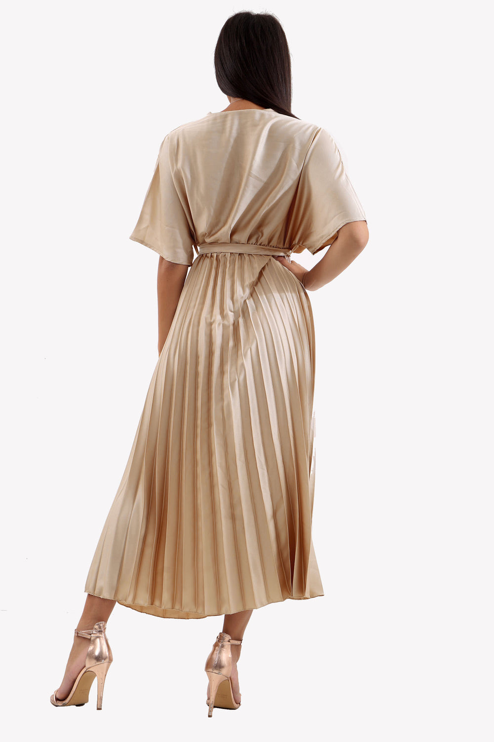 Champagne Satin Batwing Pleated Maxi Dress
