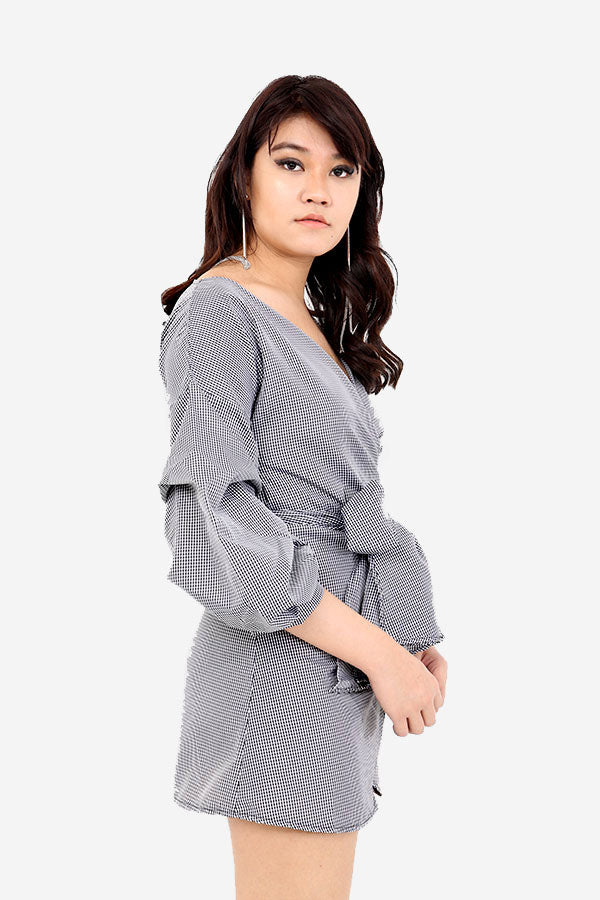 Grey Checkered Wrap Dress