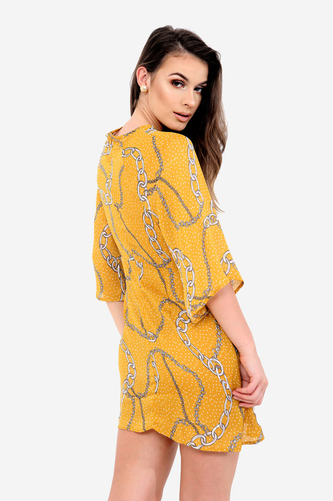 Yellow Chain Printed Dress