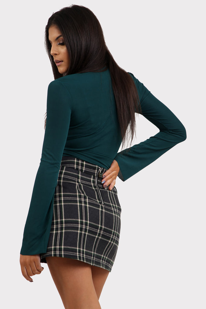 Charcoal Plaid Mini Skirt With Button Detail