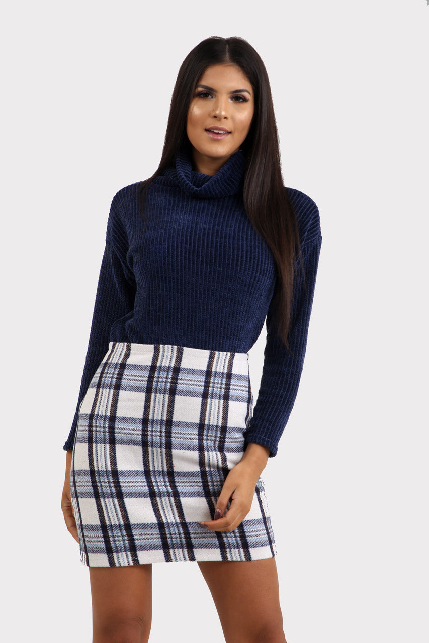 White Plaid Mini Skirt