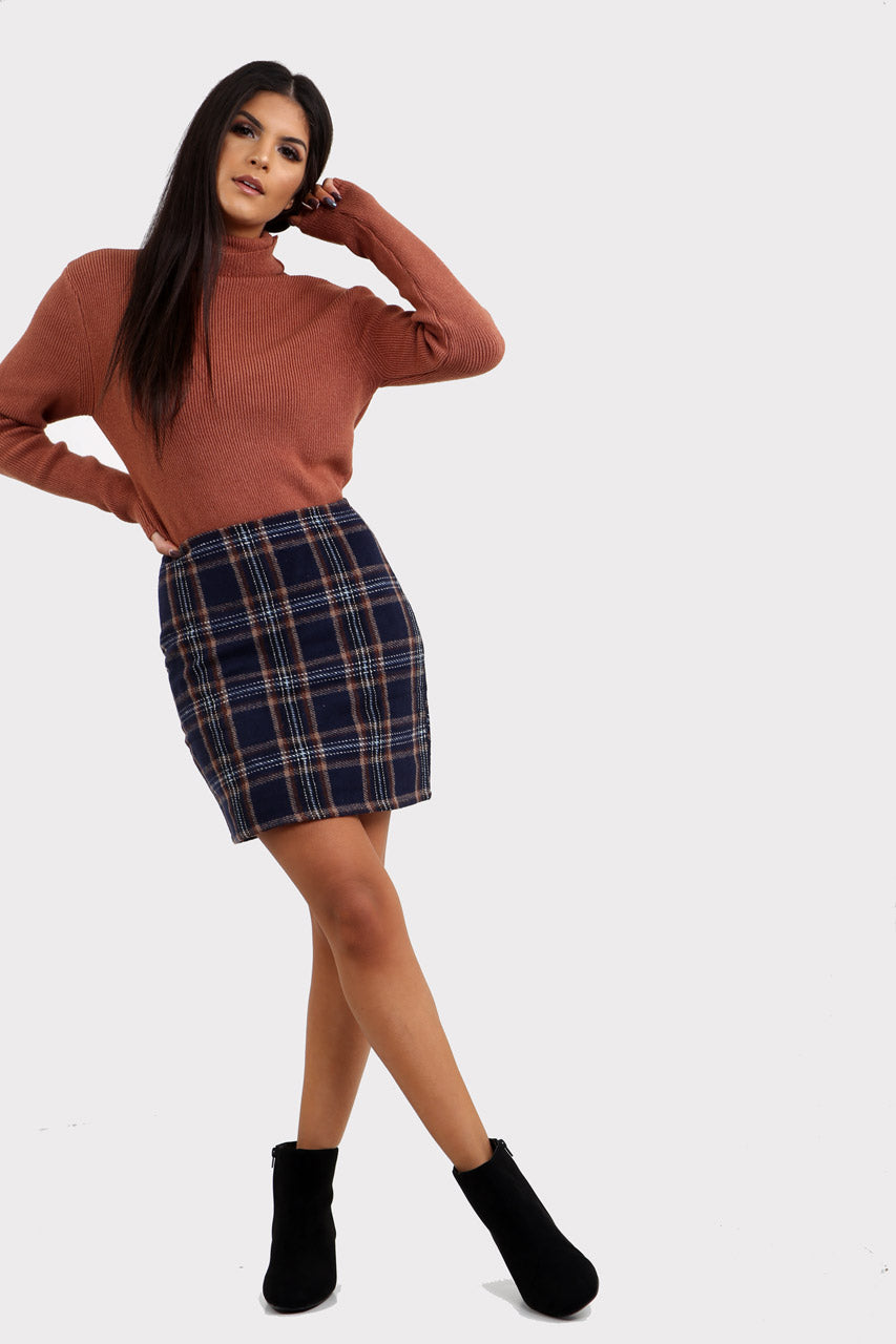 Navy Plaid Mini Skirt