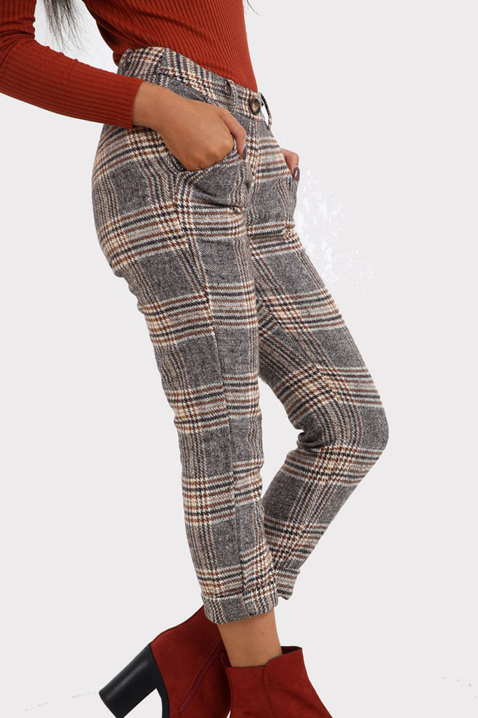 Grey Plaid Tapered Trousers