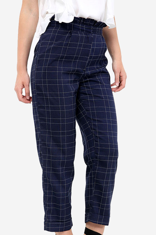 Navy Checkered Trousers
