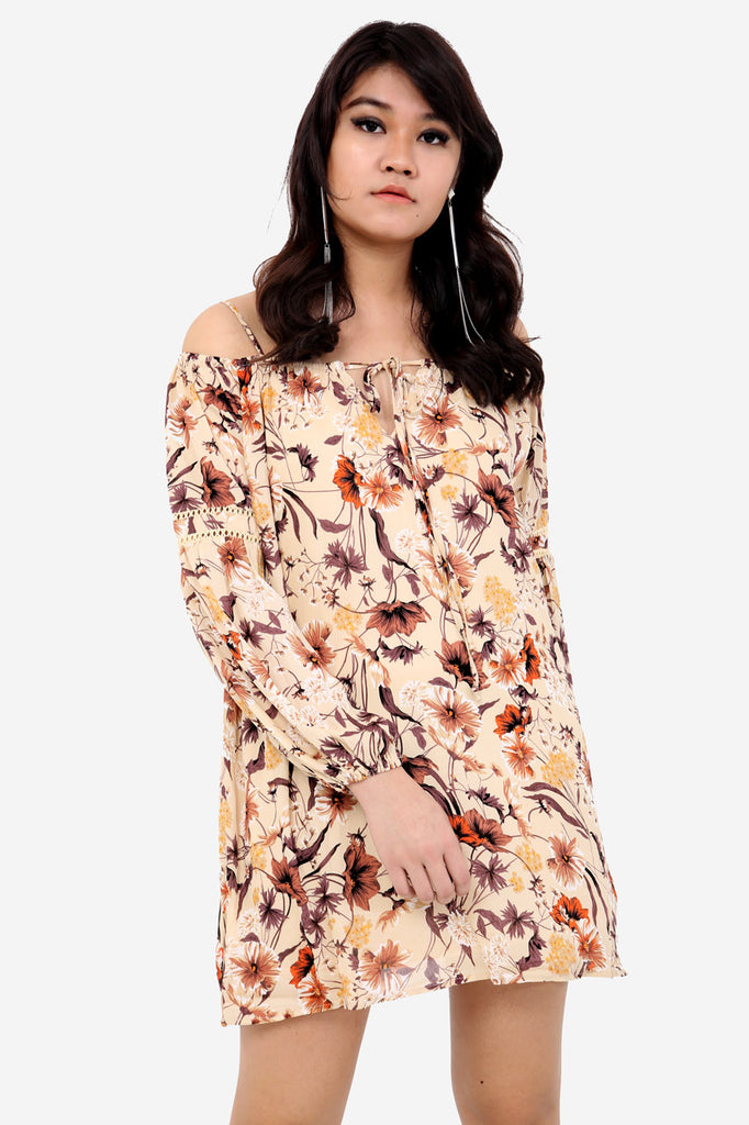 Cream Floral Cold Shoulder Shift Dress