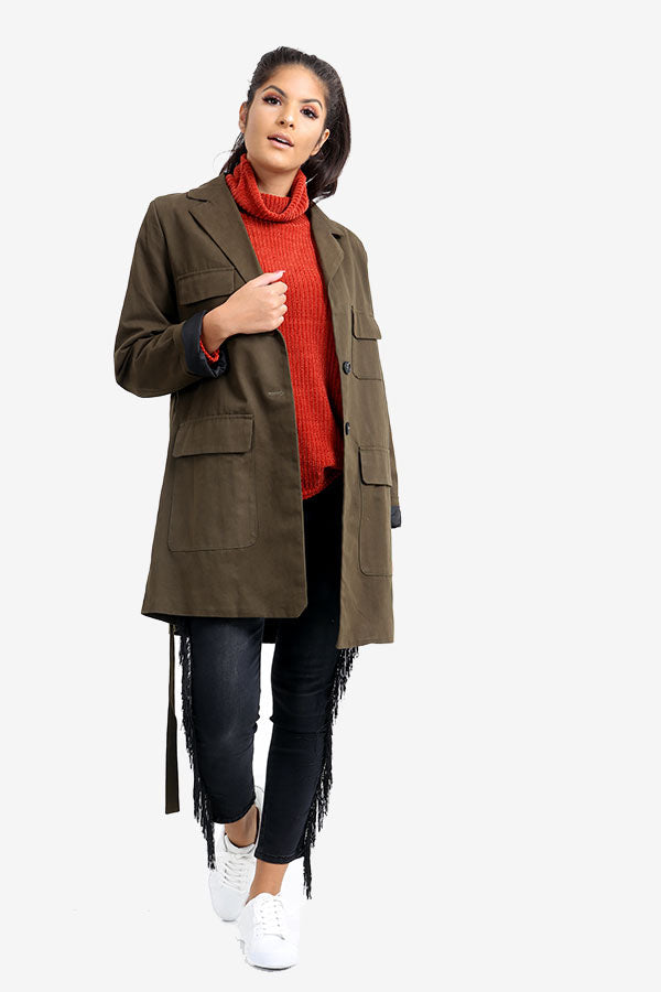Khaki Cotton Trench Coat