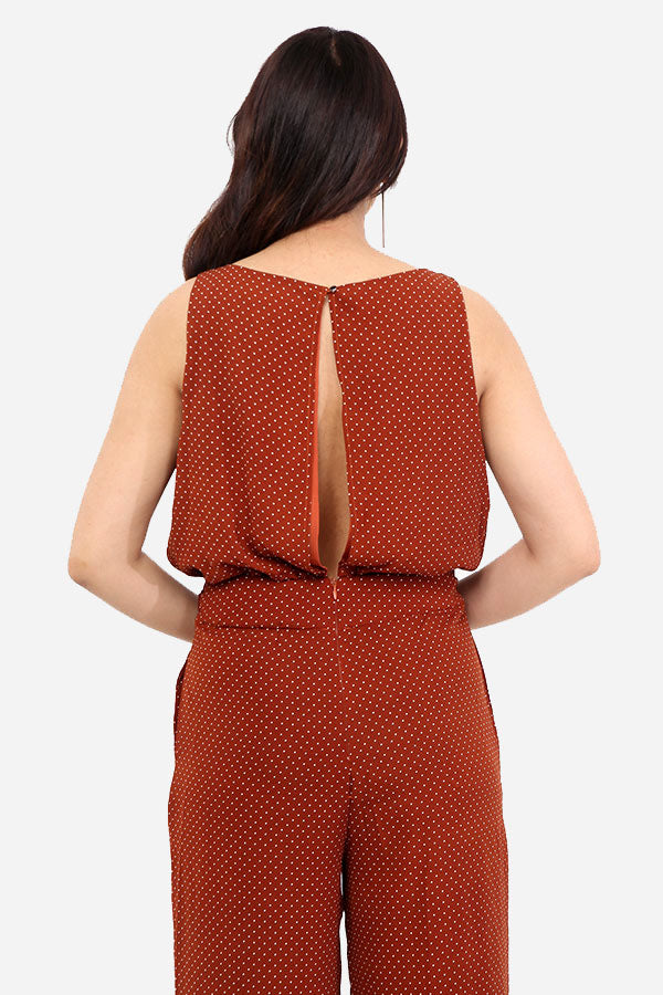 Burnt Orange Polka Dot Jumpsuit