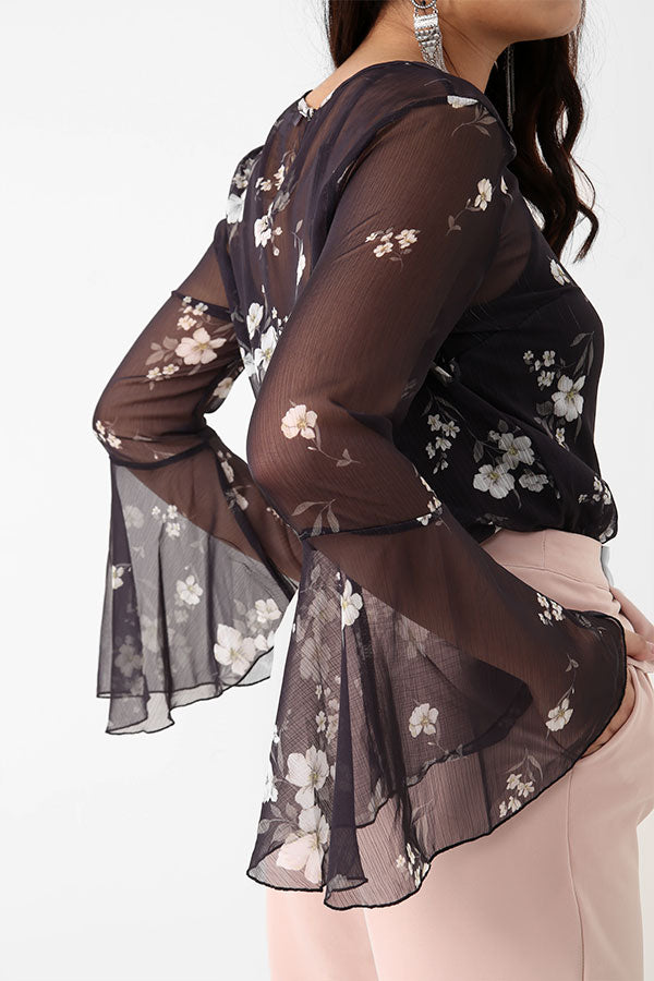 Transparent Floral Blouse With Flare Sleeves